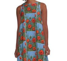 Red Poppies: Original Floral Painting A-Line Dress