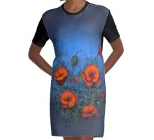 Red Poppies on Blue Background: Original Painting: Art Graphic T-Shirt Dress