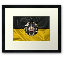 Imperial Crown of Austria over Flag of the Habsburg Monarchy Framed Print