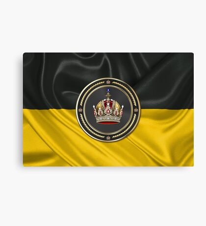 Imperial Crown of Austria over Flag of the Habsburg Monarchy Canvas Print