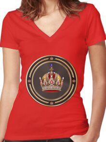 Imperial Crown of Austria over Red Velvet Women's Fitted V-Neck T-Shirt