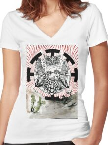 Nostradamus is a  great horned owl that lives in my neighborhood. Women's Fitted V-Neck T-Shirt