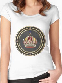 Imperial Crown of Austria over White Leather Women's Fitted Scoop T-Shirt