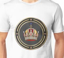 Imperial Crown of Austria over White Leather Unisex T-Shirt
