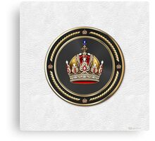 Imperial Crown of Austria over White Leather Canvas Print