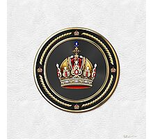 Imperial Crown of Austria over White Leather Photographic Print