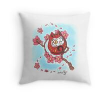 Daruma Kitty Throw Pillow