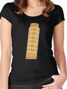 Geometric tower of Pisa in colour with white outline Women's Fitted Scoop T-Shirt