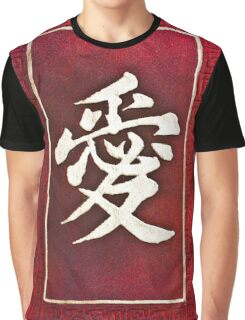 Chinese characters of LOVE on red Graphic T-Shirt