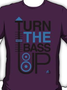 TURN THE BASS UP - Crossfader & Speaker DJ, Dark T-Shirt