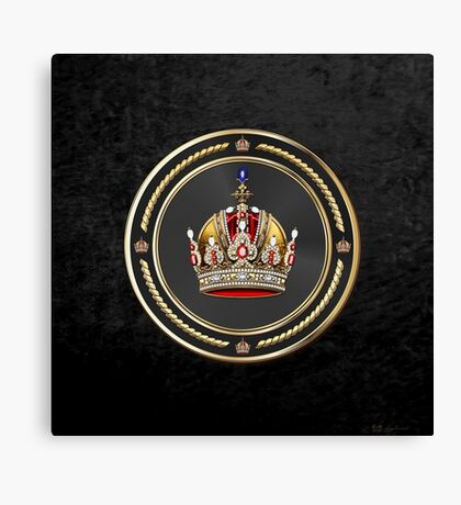 Imperial Crown of Austria over Black Velvet Canvas Print