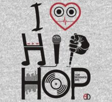 I Love Hip Hop - Music DJ Design - Dark Text One Piece - Long Sleeve
