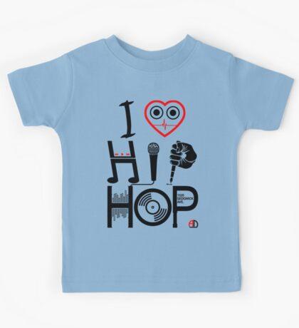 I Love Hip Hop - Music DJ Design - Dark Text Kids Tee