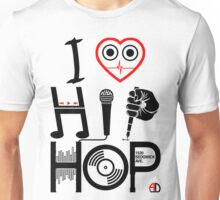 I Love Hip Hop - Music DJ Design - Dark Text Unisex T-Shirt