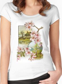 Victorian Pink Floral Women's Fitted Scoop T-Shirt