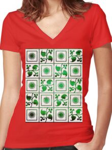 Retro Green and White Embroidery Women's Fitted V-Neck T-Shirt