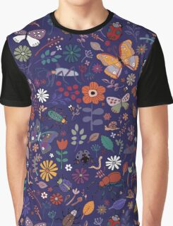 Butterflies, beetles & blooms - French navy Graphic T-Shirt
