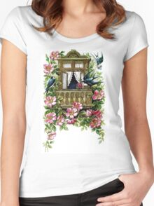 Vintage Birds and Flowers Women's Fitted Scoop T-Shirt