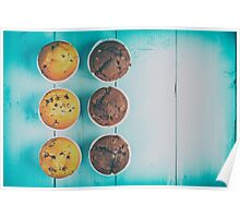 Homemade Chocolate Chip Muffins On Blue Table Poster