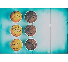 Homemade Chocolate Chip Muffins On Blue Table Photographic Print