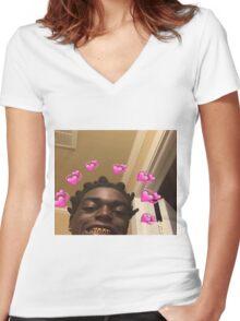 Kodak Black Hearts Women's Fitted V-Neck T-Shirt