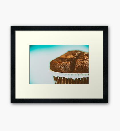 Homemade Chocolate Chip Muffin On Blue Table Framed Print