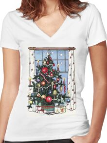 Retro Christmas Tree Women's Fitted V-Neck T-Shirt