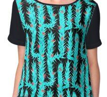 Cactus, blue, desert, pattern design, sample, ornaments, nature,  flowers Chiffon Top