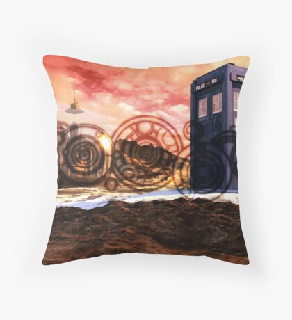Doctor Who - Tardis, Gallifrey and Doctor's Name Throw Pillow
