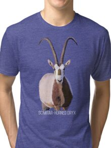 Scimitar-Horned Oryx - for darker clothing Tri-blend T-Shirt