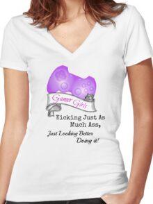 Gamer Girls Kick Ass Women's Fitted V-Neck T-Shirt