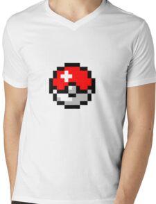8bit Pokeball Mens V-Neck T-Shirt