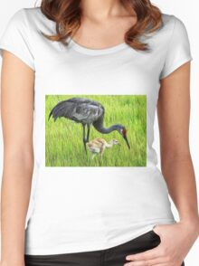 Sandhill crane parent with chick Women's Fitted Scoop T-Shirt