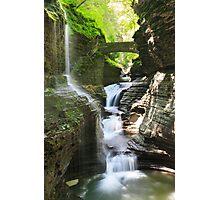 Rainbow Falls and Rainbow Bridge, Watkins Glen State Park, New York Photographic Print