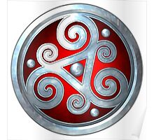 Red Celtic Double Triskelion Poster