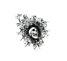 Skull Floral Explosion Photographic Print