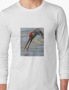 Feeding Sandhill Crane Long Sleeve T-Shirt