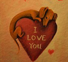 Dachshund~Dog~I Love You~Valentine by shinerdog