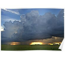 Storm moving over the prairie lands Poster