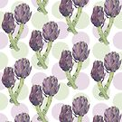 Purple Artichokes Dots by Mariana Musa