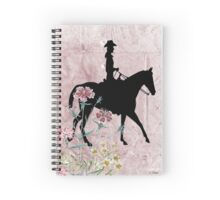 Cowgirl Riding Horse Pink Flowers Spiral Notebook