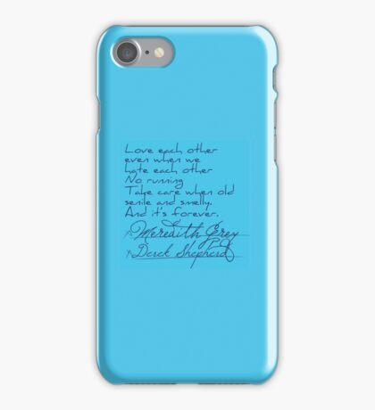 Grey's Anatomy: Derek & Meredith's Vows Post It Note iPhone Case/Skin