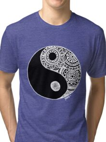 Black and White Lace Yin Yang Tri-blend T-Shirt