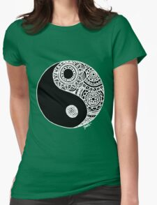 Black and White Lace Yin Yang Womens Fitted T-Shirt