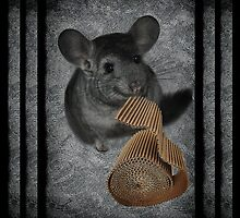 CHINCHILLA (LITTLE CHINCA) NIBBLING CARBOARD AND LOVIN IT DECORATIVE THROW PILLOW & TOTE BAG-SWEET by ╰⊰✿ℒᵒᶹᵉ Bonita✿⊱╮ Lalonde✿⊱╮