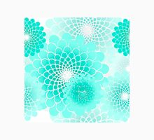 Spiral flowers, turquoise geometric floral pattern Womens Fitted T-Shirt