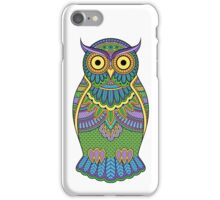 Decorated ornate owl with patterns and ornaments iPhone Case/Skin