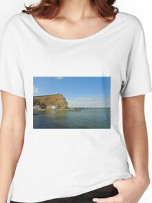 Across Staithes Harbour To Cowbar Nab Women's Relaxed Fit T-Shirt