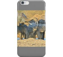 Elephant - Joy of Water - African Wildlife Background  iPhone Case/Skin