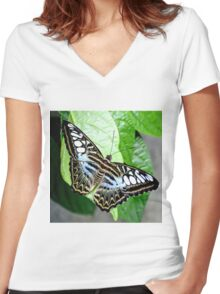 Blue Tiger Butterfly Women's Fitted V-Neck T-Shirt